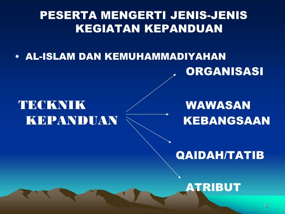 5 PESERTA MENGERTI JENIS-JENIS KEGIATAN KEPANDUAN AL-ISLAM DAN KEMUHAMMADIYAHAN ORGANISASI TECKNIK WAWASAN KEPANDUAN KEBANGSAAN QAIDAH/TATIB ATRIBUT