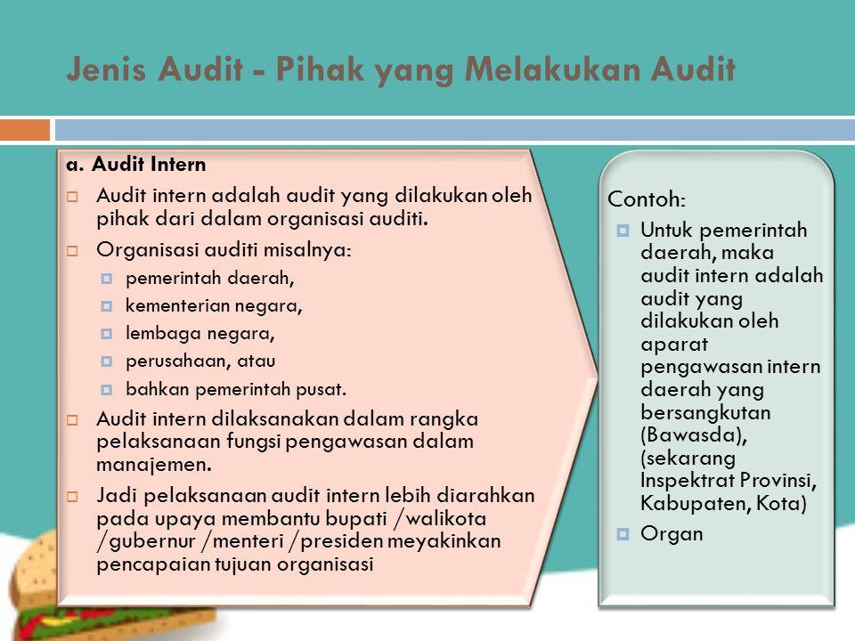 Jenis Audit - Pihak yang Melakukan Audit a.