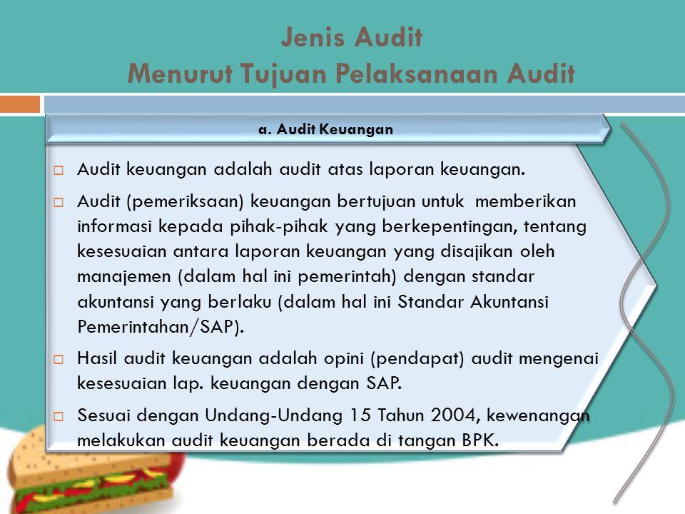 Jenis Audit Menurut Tujuan Pelaksanaan Audit  Audit keuangan adalah audit atas laporan keuangan.  Audit (pemeriksaan) keuangan bertujuan untuk membe