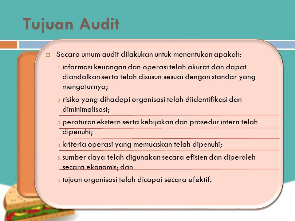 Tujuan Audit  Secara umum audit dilakukan untuk menentukan apakah: 1. informasi keuangan dan operasi telah akurat dan dapat diandalkan serta telah di