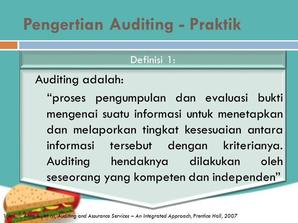 Pengertian Auditing - Praktik Auditing adalah: proses pengumpulan dan evaluasi bukti mengenai suatu informasi untuk menetapkan dan melaporkan tingkat kesesuaian antara informasi tersebut dengan kriterianya.