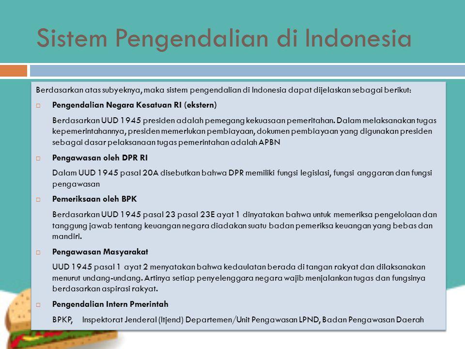 Sistem Pengendalian di Indonesia Berdasarkan atas subyeknya, maka sistem pengendalian di Indonesia dapat dijelaskan sebagai berikut:  Pengendalian Negara Kesatuan RI (ekstern) Berdasarkan UUD 1945 presiden adalah pemegang kekuasaan pemeritahan.