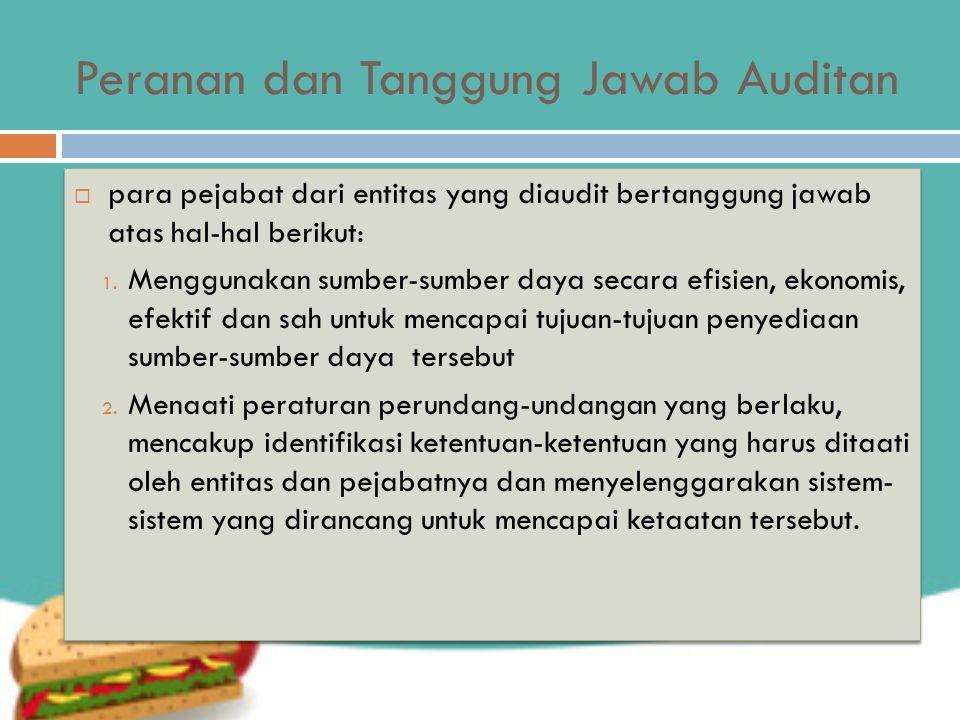 Peranan dan Tanggung Jawab Auditan  para pejabat dari entitas yang diaudit bertanggung jawab atas hal-hal berikut: 1.