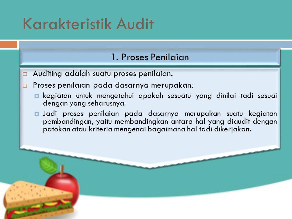 Karakteristik Audit  Auditing adalah suatu proses penilaian.