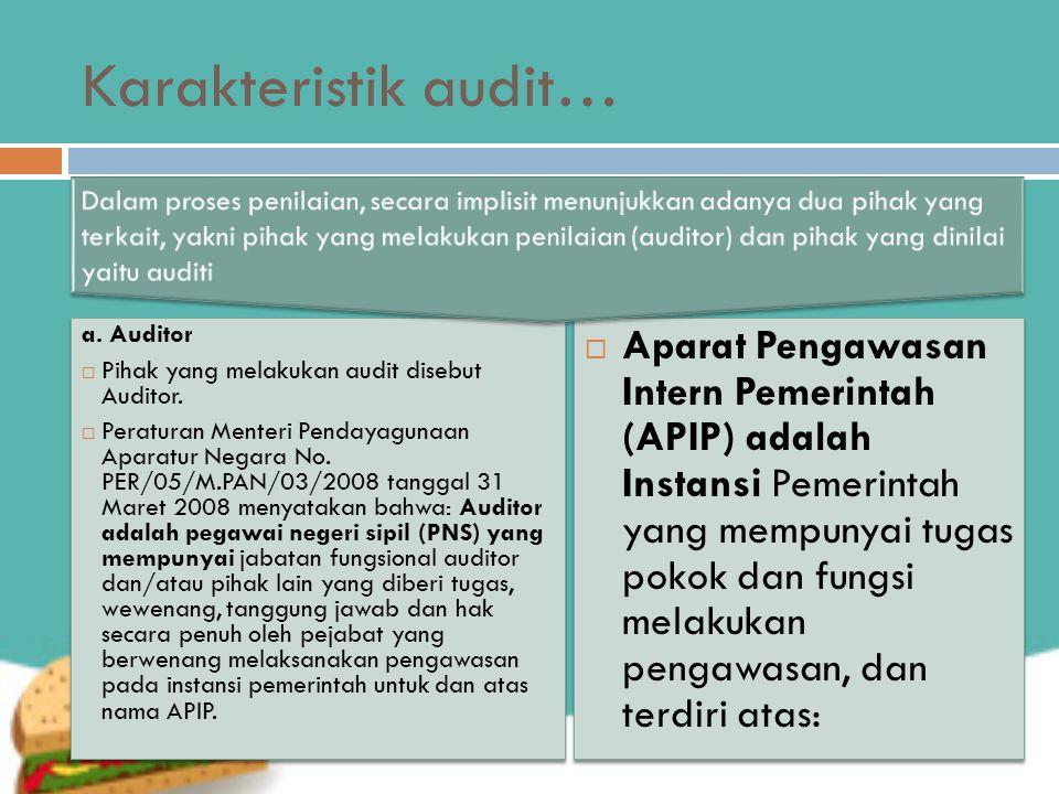 Karakteristik audit…  Aparat Pengawasan Intern Pemerintah (APIP) adalah Instansi Pemerintah yang mempunyai tugas pokok dan fungsi melakukan pengawasan, dan terdiri atas: a.