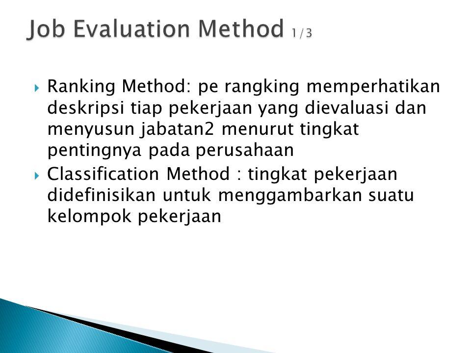  Factor Comparison Method:ada 5 faktor universal dlm menentukan tingkat gaji: tuntutan mental (IQ,reasoning,imaginasi),Keahlian (koordinasi gerakan dan interpretasi),tuntutan fisik (duduk,berdiri,mengangkat,dll),Tanggung jawab(pada bahan mentah,uang,file,penyeliaan),kondisi kerja( tk kebisingan,pencahayaan,ventilasi,bahaya, waktu kerja)  Point Method :Memberi nilai numerik pada faktor pekerjaan tertentu spt pengetahuan yang dibutuhkan,dan jumlah nilai2 menjadi dasar assessment bobot nilai suatu pekerjaan.