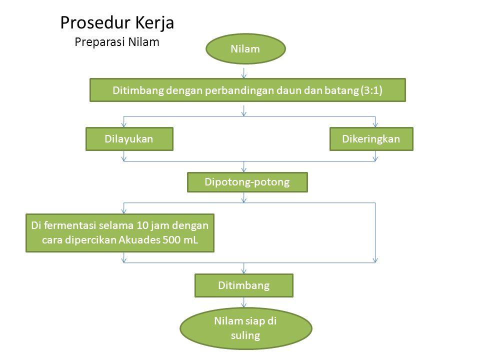 Prosedur Kerja Preparasi Nilam Nilam DilayukanDikeringkan Ditimbang dengan perbandingan daun dan batang (3:1) Dipotong-potong Di fermentasi selama 10