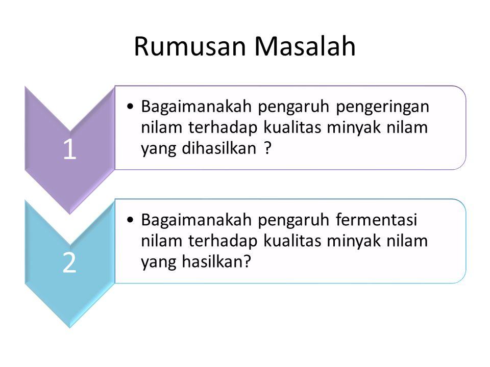 Rumusan Masalah 1 Bagaimanakah pengaruh pengeringan nilam terhadap kualitas minyak nilam yang dihasilkan ? 2 Bagaimanakah pengaruh fermentasi nilam te