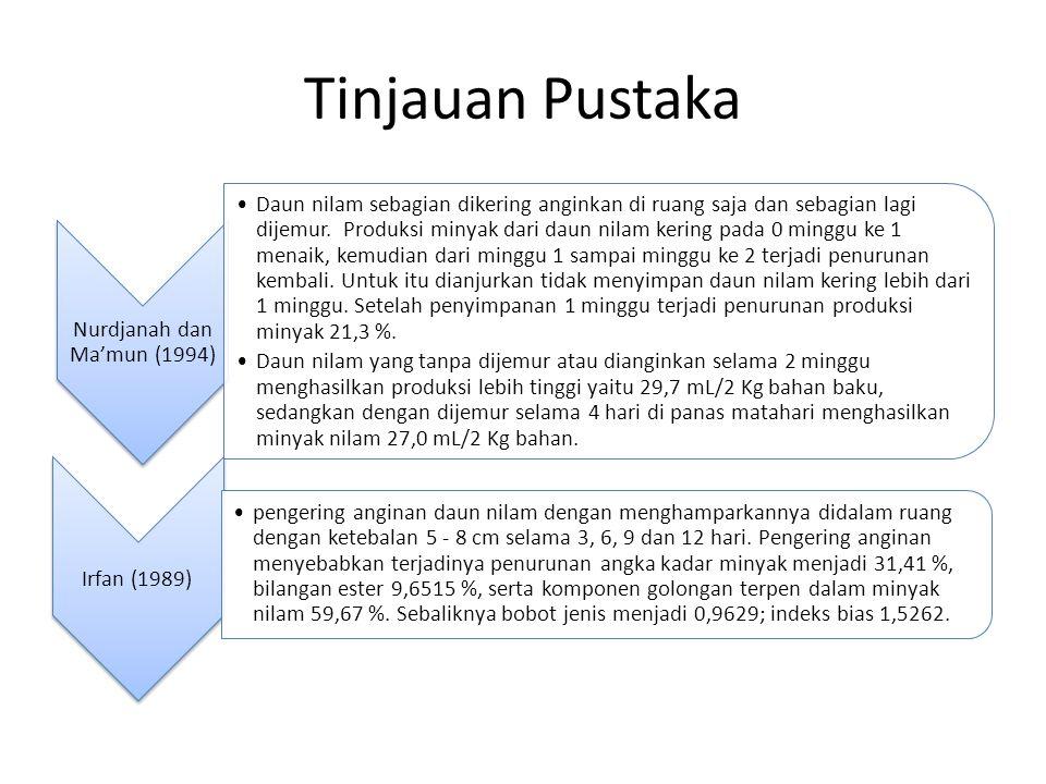 Tinjauan Pustaka Nurdjanah dan Ma'mun (1994) Daun nilam sebagian dikering anginkan di ruang saja dan sebagian lagi dijemur. Produksi minyak dari daun