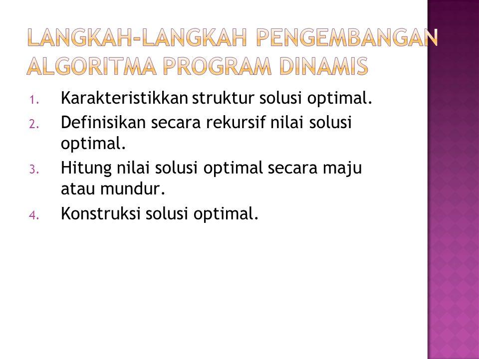 1. Karakteristikkan struktur solusi optimal. 2. Definisikan secara rekursif nilai solusi optimal. 3. Hitung nilai solusi optimal secara maju atau mund