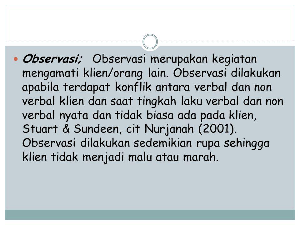 Observasi; Observasi merupakan kegiatan mengamati klien/orang lain.