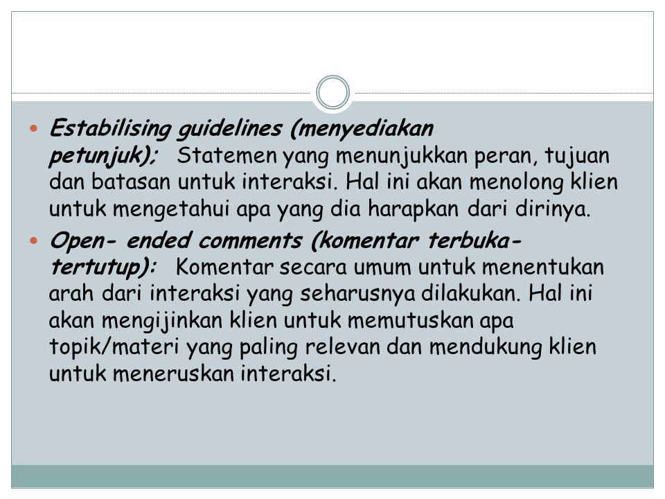 Estabilising guidelines (menyediakan petunjuk); Statemen yang menunjukkan peran, tujuan dan batasan untuk interaksi. Hal ini akan menolong klien untuk