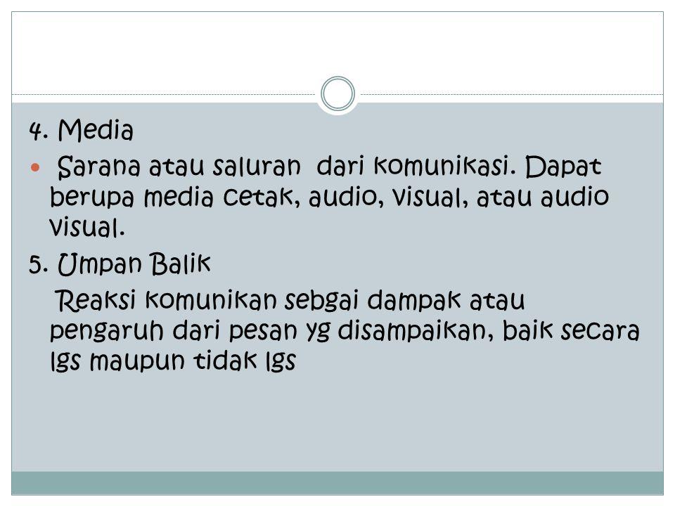 4.Media Sarana atau saluran dari komunikasi.