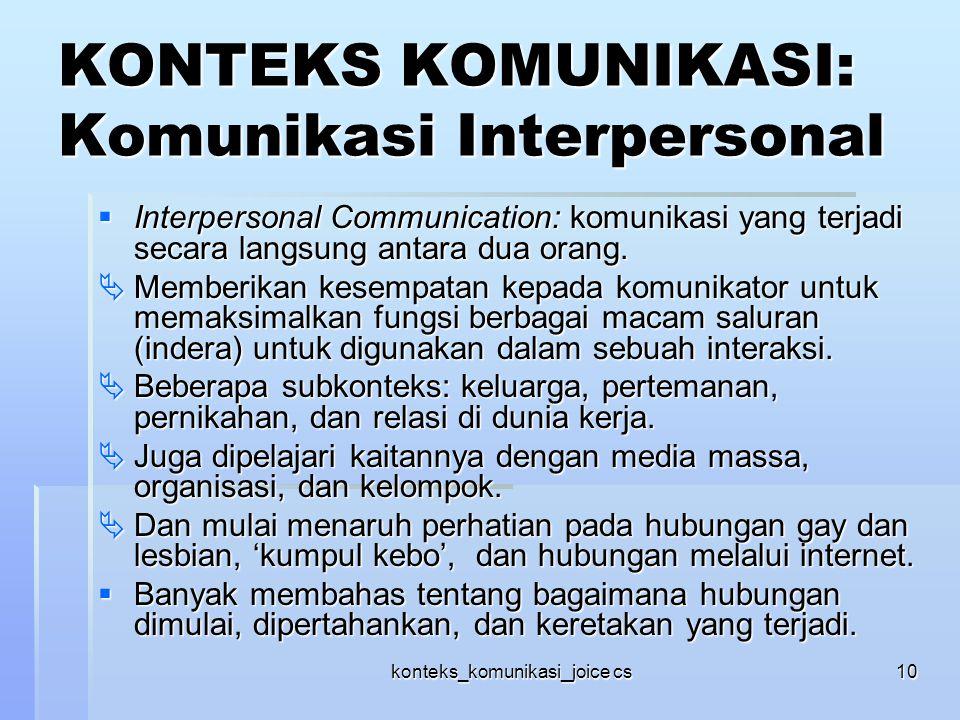 konteks_komunikasi_joice cs10 KONTEKS KOMUNIKASI: Komunikasi Interpersonal  Interpersonal Communication: komunikasi yang terjadi secara langsung anta