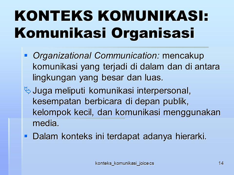 konteks_komunikasi_joice cs14 KONTEKS KOMUNIKASI: Komunikasi Organisasi  Organizational Communication: mencakup komunikasi yang terjadi di dalam dan