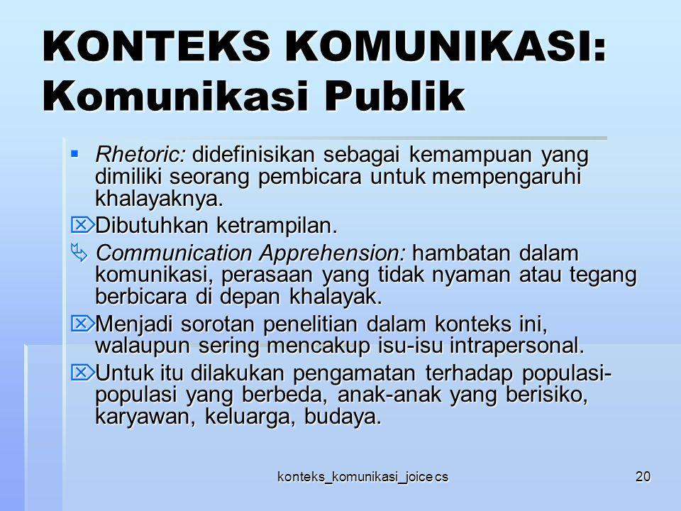 konteks_komunikasi_joice cs20 KONTEKS KOMUNIKASI: Komunikasi Publik  Rhetoric: didefinisikan sebagai kemampuan yang dimiliki seorang pembicara untuk