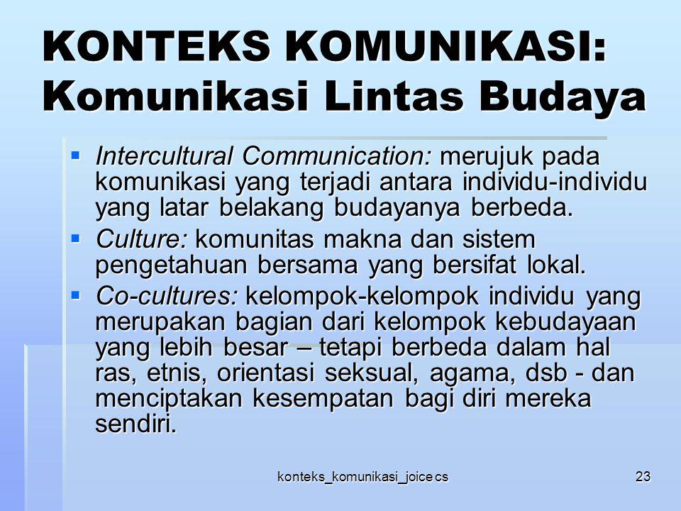 konteks_komunikasi_joice cs23 KONTEKS KOMUNIKASI: Komunikasi Lintas Budaya  Intercultural Communication: merujuk pada komunikasi yang terjadi antara