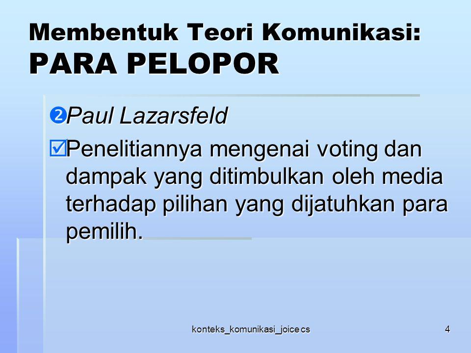 konteks_komunikasi_joice cs4 Membentuk Teori Komunikasi: PARA PELOPOR  Paul Lazarsfeld  Penelitiannya mengenai voting dan dampak yang ditimbulkan ol