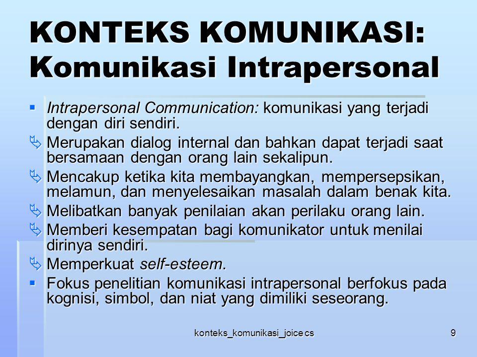 konteks_komunikasi_joice cs9 KONTEKS KOMUNIKASI: Komunikasi Intrapersonal  Intrapersonal Communication: komunikasi yang terjadi dengan diri sendiri.