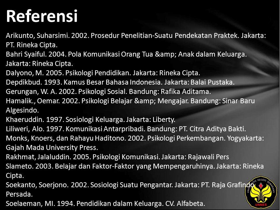 Referensi Arikunto, Suharsimi. 2002. Prosedur Penelitian-Suatu Pendekatan Praktek.