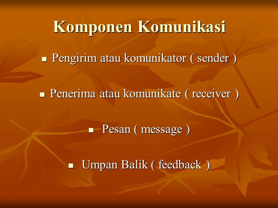 Komponen Komunikasi Pengirim atau komunikator ( sender ) Pengirim atau komunikator ( sender ) Penerima atau komunikate ( receiver ) Penerima atau komunikate ( receiver ) Pesan ( message ) Pesan ( message ) Umpan Balik ( feedback ) Umpan Balik ( feedback )