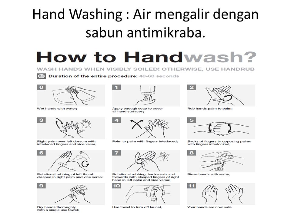 Hand Washing : Air mengalir dengan sabun antimikraba.