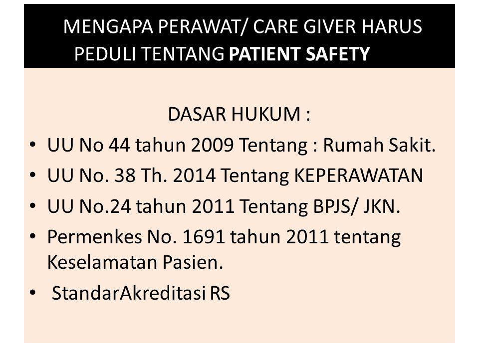 MENGAPA PERAWAT/ CARE GIVER HARUS PEDULI TENTANG PATIENT SAFETY ??? DASAR HUKUM : UU No 44 tahun 2009 Tentang : Rumah Sakit. UU No. 38 Th. 2014 Tentan