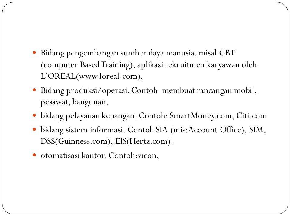 Bidang pengembangan sumber daya manusia. misal CBT (computer Based Training), aplikasi rekruitmen karyawan oleh L'OREAL(www.loreal.com), Bidang produk