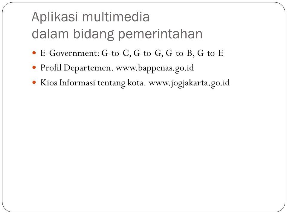 Aplikasi multimedia dalam bidang pemerintahan E-Government: G-to-C, G-to-G, G-to-B, G-to-E Profil Departemen. www.bappenas.go.id Kios Informasi tentan