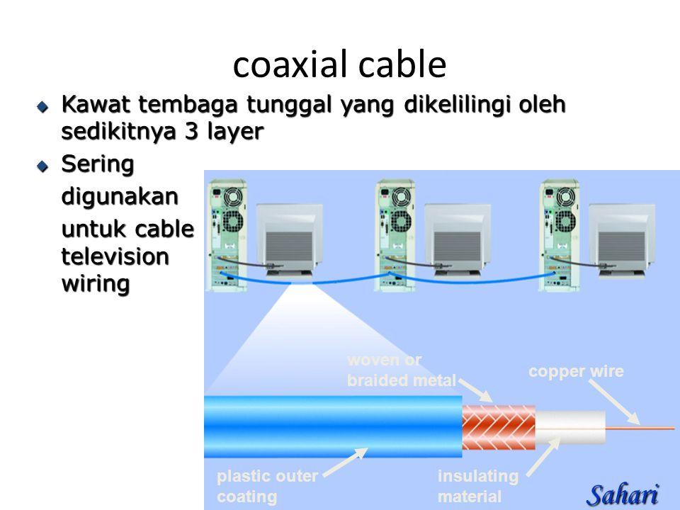 coaxial cable  Kawat tembaga tunggal yang dikelilingi oleh sedikitnya 3 layer  Sering digunakan untuk cable television wiring plastic outer coating