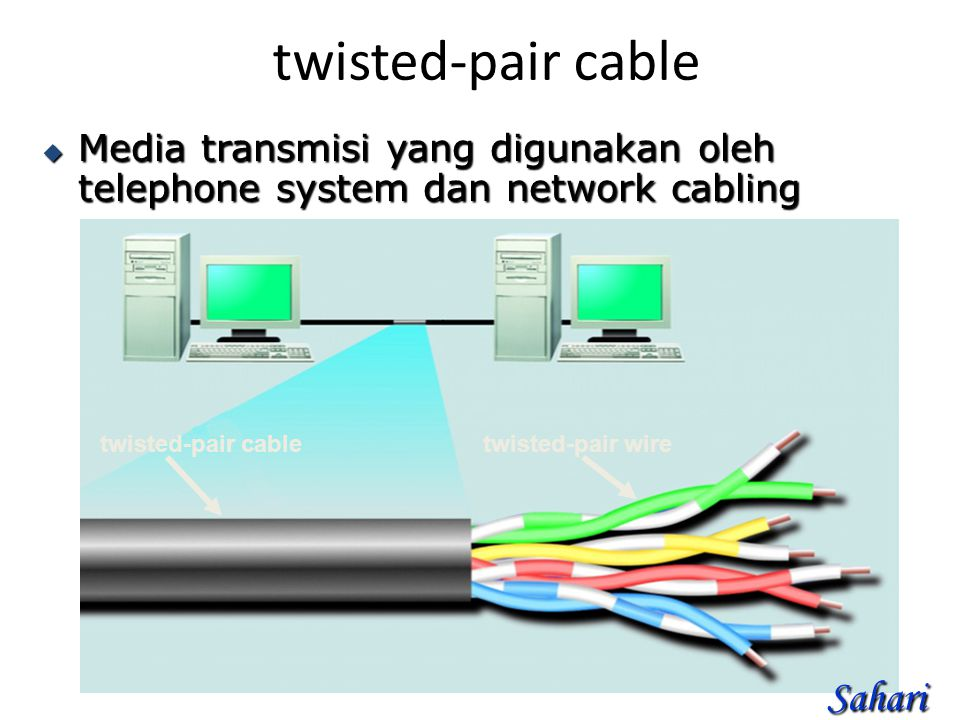 twisted-pair cable  Media transmisi yang digunakan oleh telephone system dan network cabling twisted-pair cabletwisted-pair wire Sahari