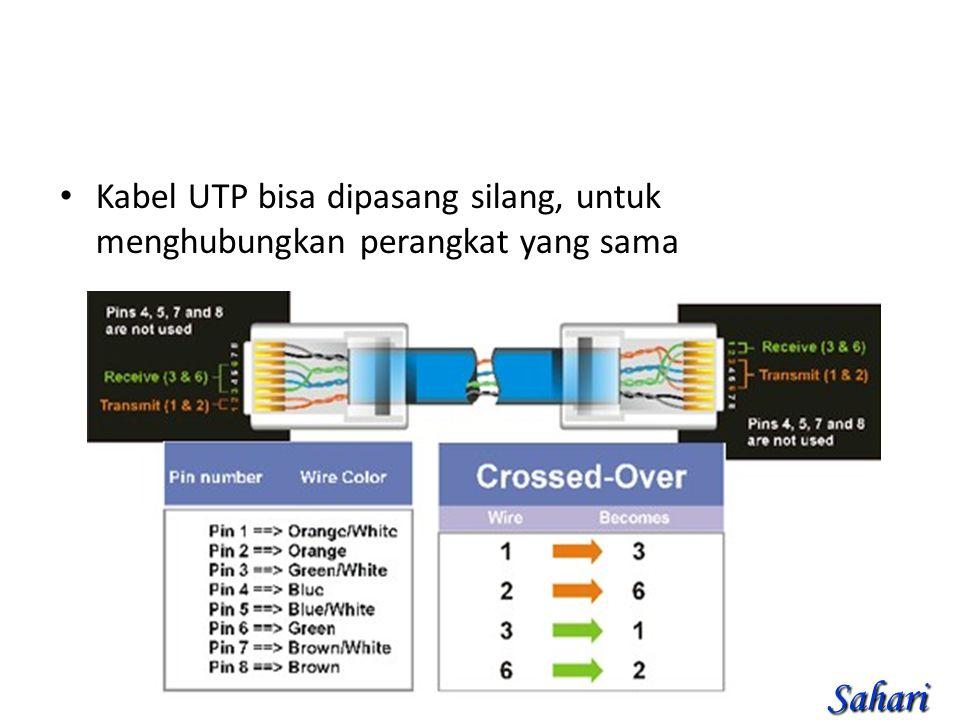 Kabel UTP bisa dipasang silang, untuk menghubungkan perangkat yang sama Sahari