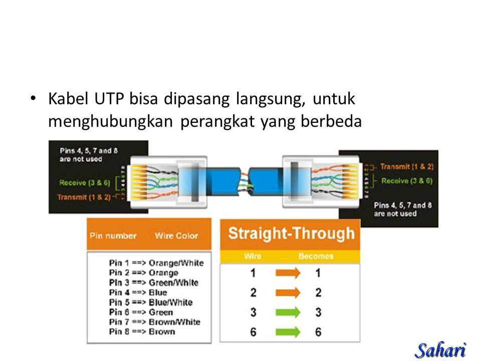 Kabel UTP bisa dipasang langsung, untuk menghubungkan perangkat yang berbeda Sahari