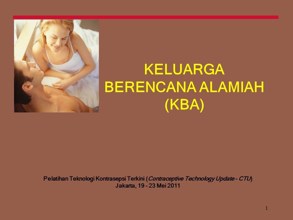 1 KELUARGA BERENCANA ALAMIAH (KBA) Pelatihan Teknologi Kontrasepsi Terkini (Contraceptive Technology Update – CTU) Jakarta, 19 – 23 Mei 2011