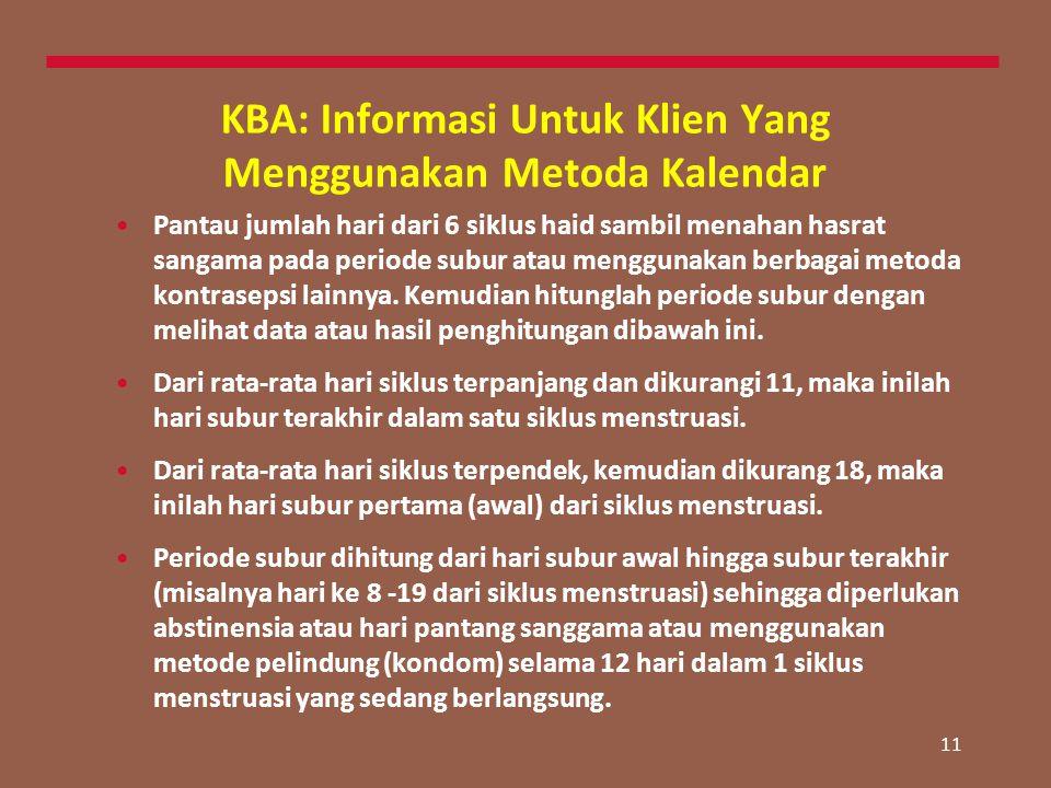 11 KBA: Informasi Untuk Klien Yang Menggunakan Metoda Kalendar Pantau jumlah hari dari 6 siklus haid sambil menahan hasrat sangama pada periode subur atau menggunakan berbagai metoda kontrasepsi lainnya.