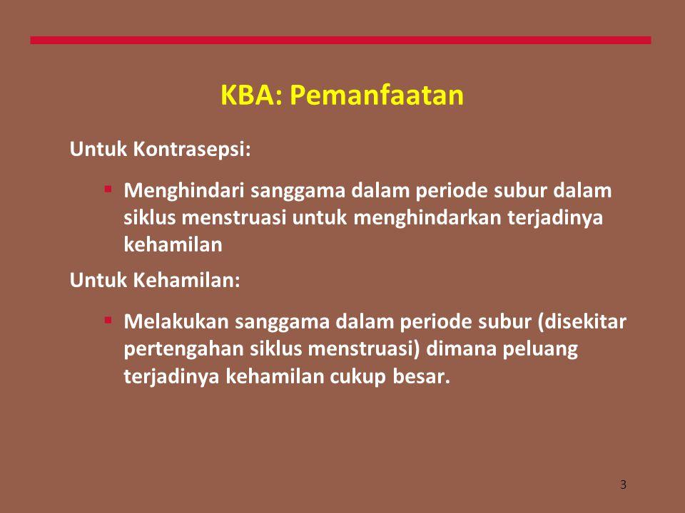 3 KBA: Pemanfaatan Untuk Kontrasepsi:  Menghindari sanggama dalam periode subur dalam siklus menstruasi untuk menghindarkan terjadinya kehamilan Untuk Kehamilan:  Melakukan sanggama dalam periode subur (disekitar pertengahan siklus menstruasi) dimana peluang terjadinya kehamilan cukup besar.