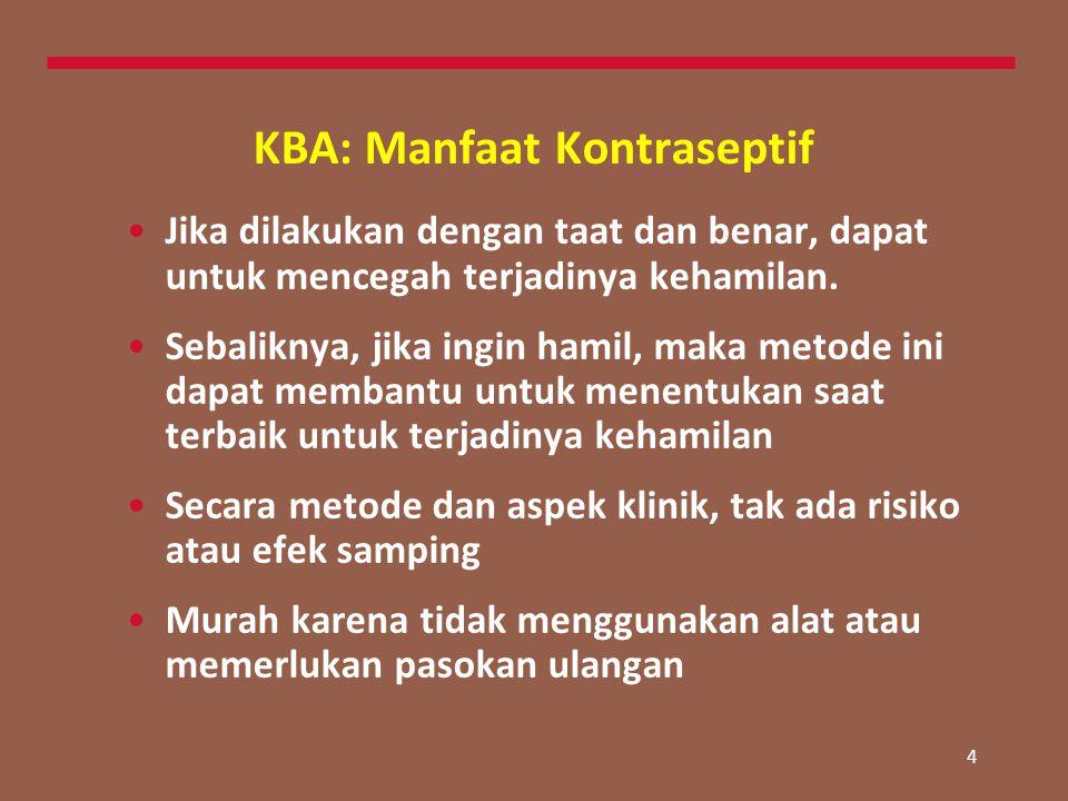 4 KBA: Manfaat Kontraseptif Jika dilakukan dengan taat dan benar, dapat untuk mencegah terjadinya kehamilan. Sebaliknya, jika ingin hamil, maka metode