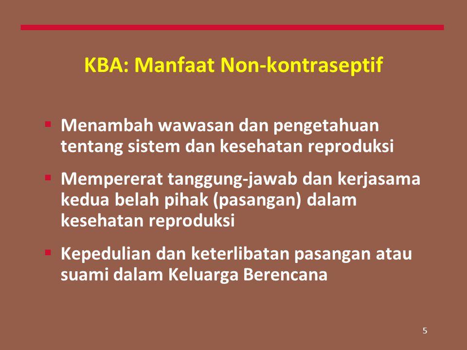 5 KBA: Manfaat Non-kontraseptif  Menambah wawasan dan pengetahuan tentang sistem dan kesehatan reproduksi  Mempererat tanggung-jawab dan kerjasama kedua belah pihak (pasangan) dalam kesehatan reproduksi  Kepedulian dan keterlibatan pasangan atau suami dalam Keluarga Berencana