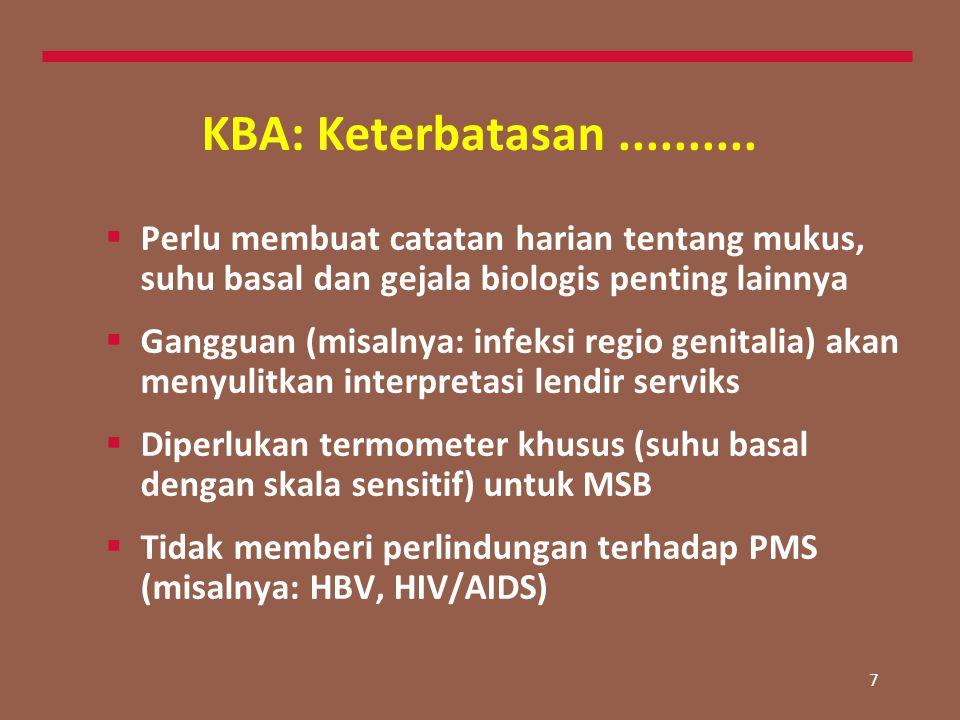 7 KBA: Keterbatasan..........  Perlu membuat catatan harian tentang mukus, suhu basal dan gejala biologis penting lainnya  Gangguan (misalnya: infek