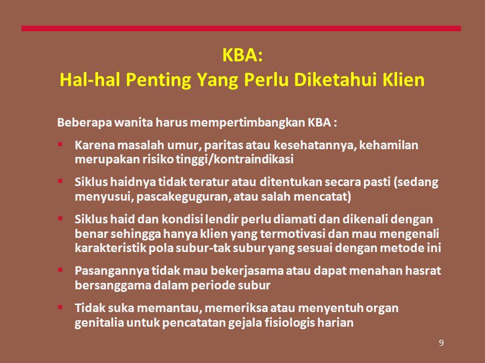 9 KBA: Hal-hal Penting Yang Perlu Diketahui Klien Beberapa wanita harus mempertimbangkan KBA :  Karena masalah umur, paritas atau kesehatannya, keham