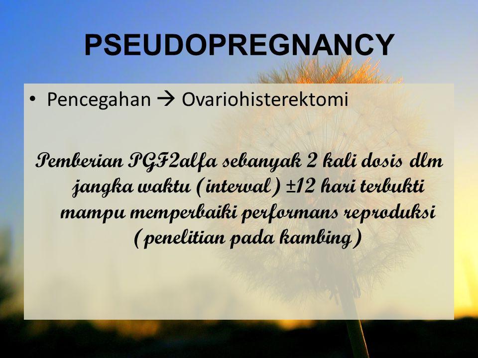 Pencegahan  Ovariohisterektomi Pemberian PGF2alfa sebanyak 2 kali dosis dlm jangka waktu (interval) ±12 hari terbukti mampu memperbaiki performans re