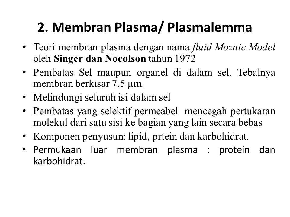 2. Membran Plasma/ Plasmalemma Teori membran plasma dengan nama fluid Mozaic Model oleh Singer dan Nocolson tahun 1972 Pembatas Sel maupun organel di