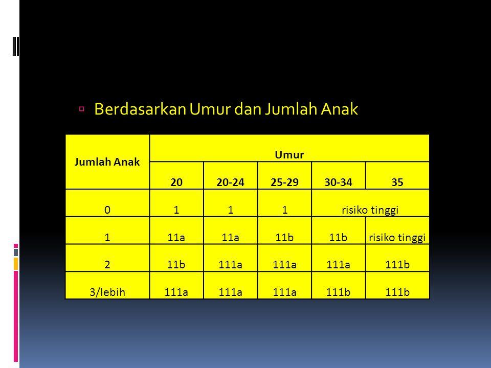  Berdasarkan Umur dan Jumlah Anak Jumlah Anak Umur 2020-2425-2930-3435 0111risiko tinggi 111a 11b risiko tinggi 211b111a 111b 3/lebih111a 111b