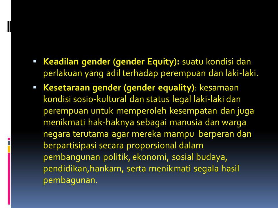  Keadilan gender (gender Equity): suatu kondisi dan perlakuan yang adil terhadap perempuan dan laki-laki.  Kesetaraan gender (gender equality): kesa