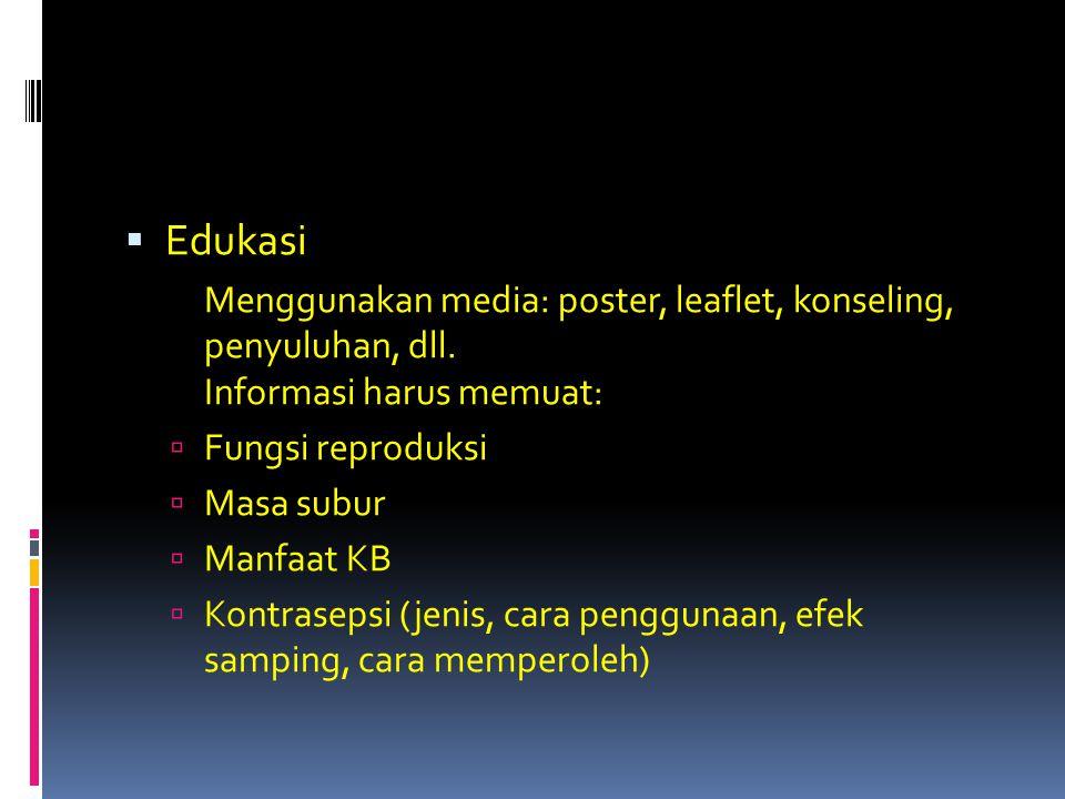  Edukasi Menggunakan media: poster, leaflet, konseling, penyuluhan, dll. Informasi harus memuat:  Fungsi reproduksi  Masa subur  Manfaat KB  Kont