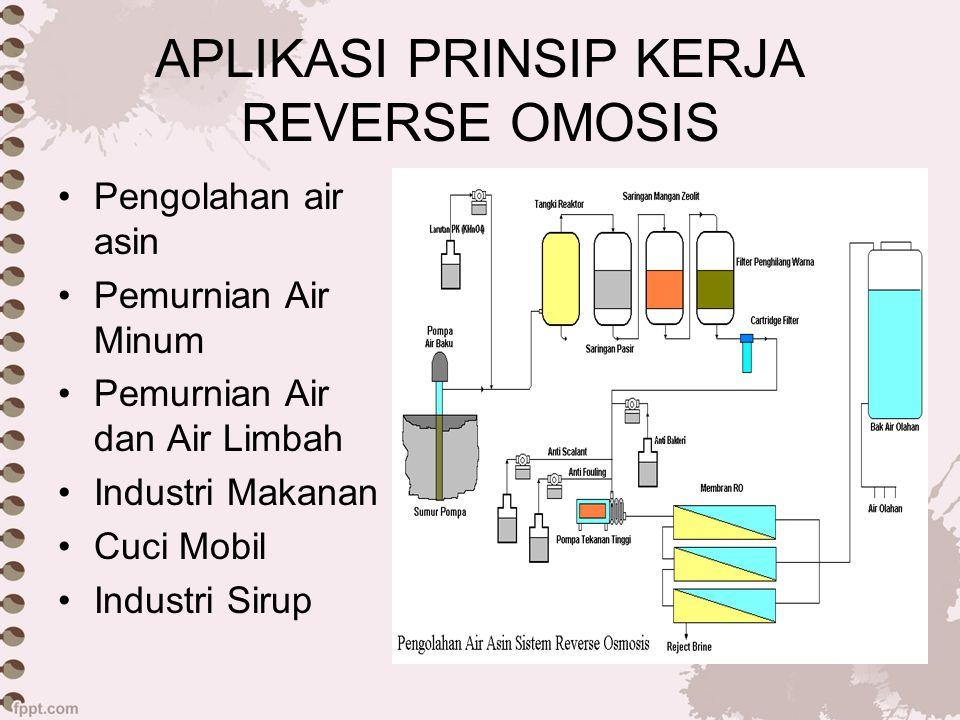 APLIKASI PRINSIP KERJA REVERSE OMOSIS Pengolahan air asin Pemurnian Air Minum Pemurnian Air dan Air Limbah Industri Makanan Cuci Mobil Industri Sirup