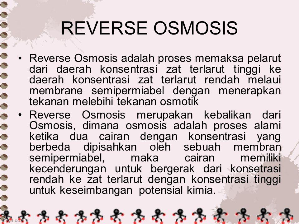 REVERSE OSMOSIS Reverse Osmosis adalah proses memaksa pelarut dari daerah konsentrasi zat terlarut tinggi ke daerah konsentrasi zat terlarut rendah me