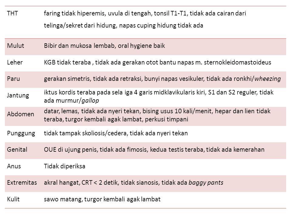 THT faring tidak hiperemis, uvula di tengah, tonsil T1-T1, tidak ada cairan dari telinga/sekret dari hidung, napas cuping hidung tidak ada MulutBibir
