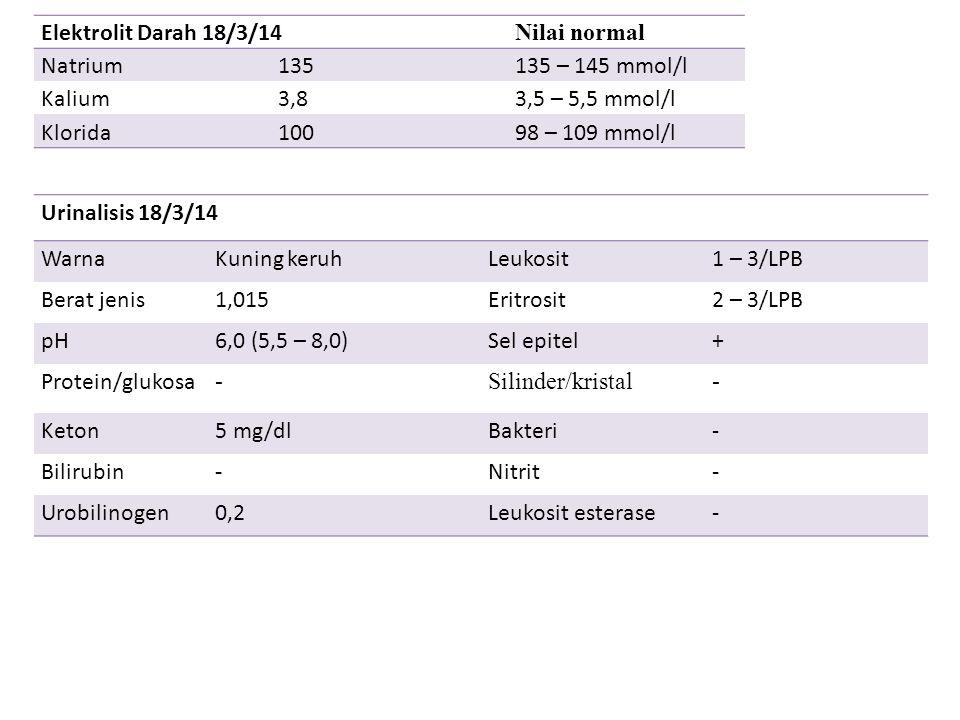 Elektrolit Darah 18/3/14 Nilai normal Natrium135135 – 145 mmol/l Kalium3,83,5 – 5,5 mmol/l Klorida10098 – 109 mmol/l Urinalisis 18/3/14 WarnaKuning ke