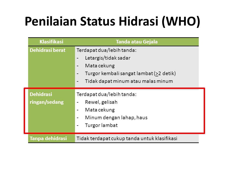 Penilaian Status Hidrasi (WHO) KlasifikasiTanda atau Gejala Dehidrasi berat Terdapat dua/lebih tanda: - Letargis/tidak sadar - Mata cekung - Turgor ke